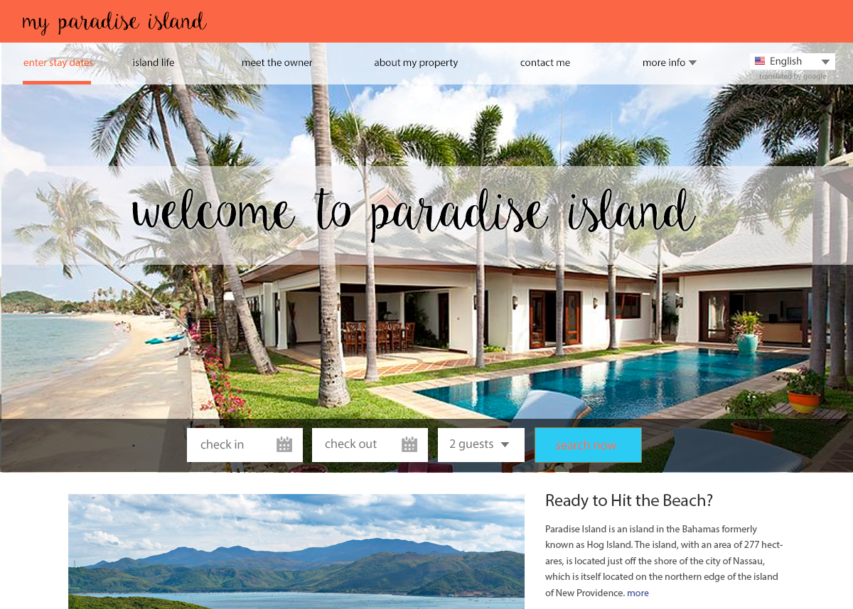 Villa Website Template Example