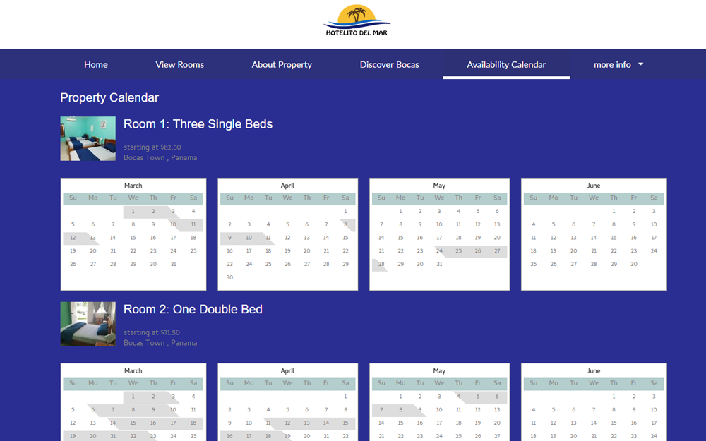 Vacation rental availability calendar free website