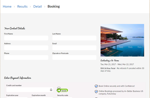 take credit cards online vacation rental